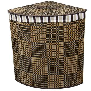 Checker Print Bow Front Bamboo Corner Laundry Basket