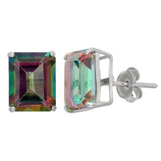 Gioelli Sterling Silver Radiant Cut Basket-set Gemstone Stud Earring
