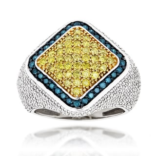 Luxurman 14k White Gold 3ct TDW Blue/ Yellow/ White Diamond Men's Ring (SI1-SI2)