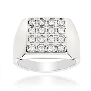 Luxurman 14k Gold Men's 7/8ct TDW Square Shaped Round-cut Diamond Ring (H-I, SI1-SI2)|https://ak1.ostkcdn.com/images/products/9597841/P16782961.jpg?impolicy=medium