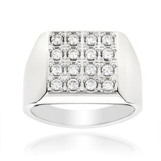 Luxurman 14k Gold Men's 7/8ct TDW Square Shaped Round-cut Diamond Ring (H-I, SI1-SI2)