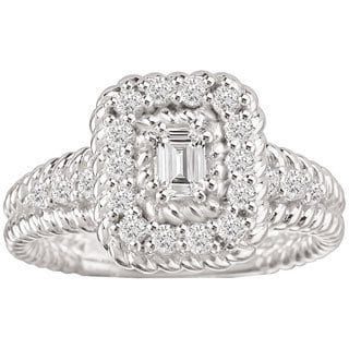 Avanti 14k White Gold 5/8ct TDW Emerald Shape Rope Design Detail and Baguette Center Diamond Ring