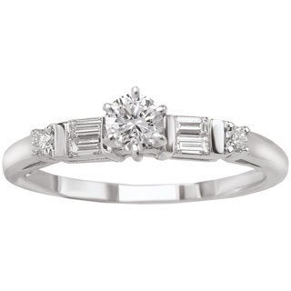Avanti 14k White Gold 1/3ct TDW Round and Baguette Diamond Promise Ring (G-H, SI1-SI2)