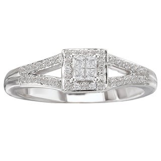 Avanti 14k White Gold 1/4ct TDW Princess-cut Square Halo Diamond Ring