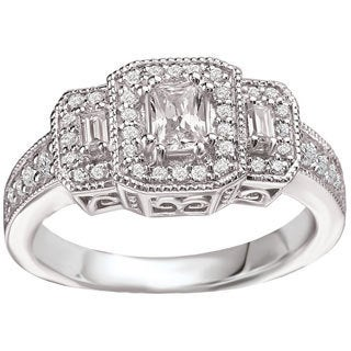Avanti 14k White Gold 3/4ct TDW Vintage Three-stone Emerald-cut Diamond Ring