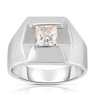Eloquence 14k White Gold 1 3/8ct TDW Princess Cut Solitaire Diamond Men's Ring (J-K, SI1-SI2)