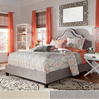 INSPIRE Q Fletcher Linen Nailhead Arch Curved Upholstered Queen-sized Bed