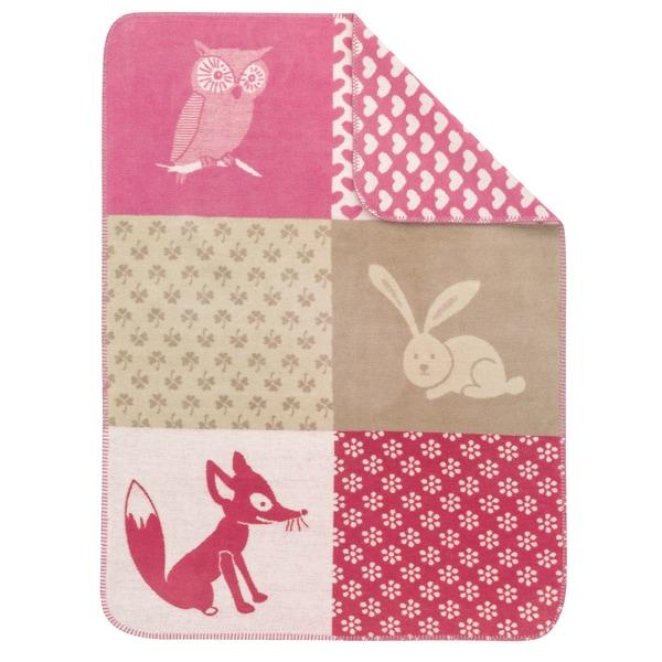IBENA Cuddly Kids Pink PatchworkThrow