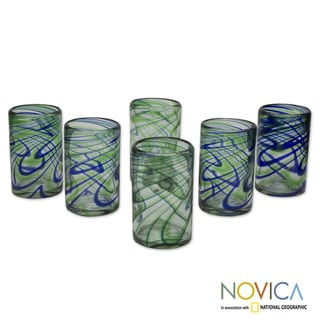 Handmade Set of 6 Blown Glass 'Elegant Energy' Glasses (Mexico)