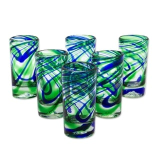 Handmade Blown Glass Elegant Energy Tequila Shot Glasses Set of 6 (Mexico)
