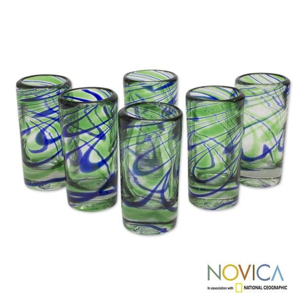 Handmade Set of 6 Blown Glass 'Elegant Energy' Tequila Shot Glasses (Mexico)