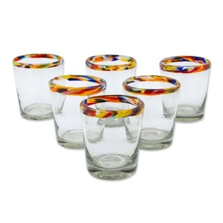 Set of 6 Handmade Blown Glass 'Confetti' Juice Glasses (Mexico)