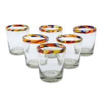 Set of 6 Handmade Blown Glass 'Confetti' Juice Glasses (Mexico)