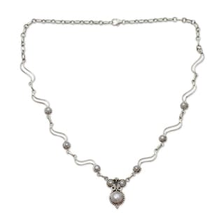 Sterling Silver 'Angel Love' Pearl Necklace (8 mm) (India)