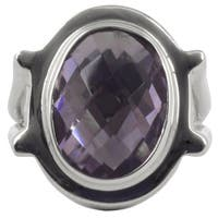 Handmade Sterling Silver 'Contempo' Amethyst Cocktail Ring (Mexico) - Purple
