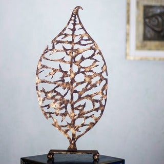Handcrafted Steel 'Golden Leaf' Sculpture (Mexico)