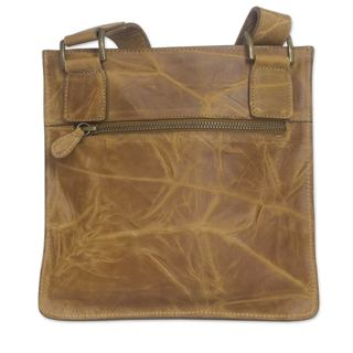Handmade Leather 'Golden Shadows' Shoulder Bag (Mexico)