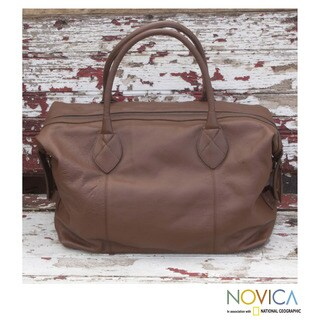Handmade Leather 'Let's Go In Brown' Travel Bag (Mexico)