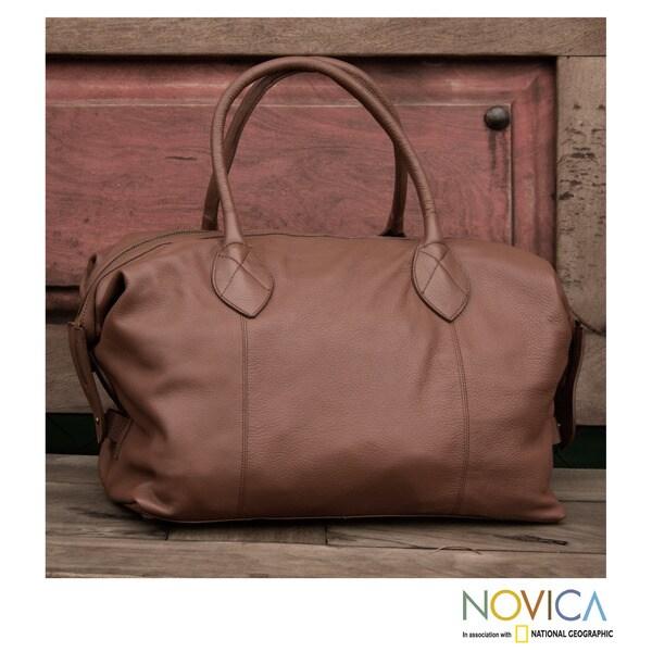 Novica Leather travel bag, Lets Go in Camel