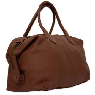 Leather 'Let's Go in Camel' Travel Bag (Mexico)