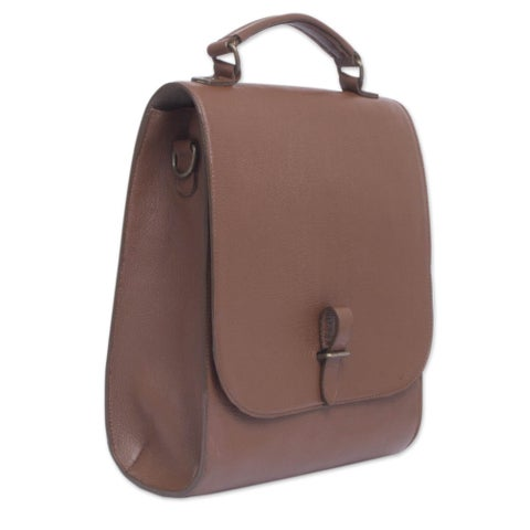 Handmade Leather 'Discoverer' Briefcase (Mexico)