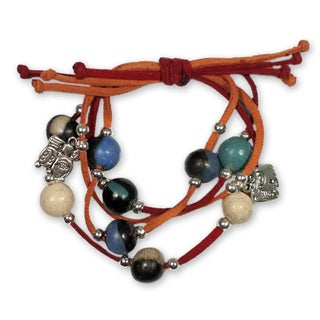 Handcrafted Leather Ceramic 'Nahual Destiny' Charm Bracelet (Honduras)
