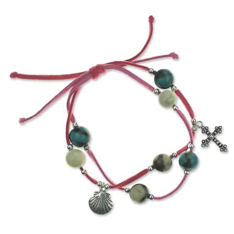 Handmade Leather Ceramic 'Purple Sihua' Charm Bracelet (Honduras)