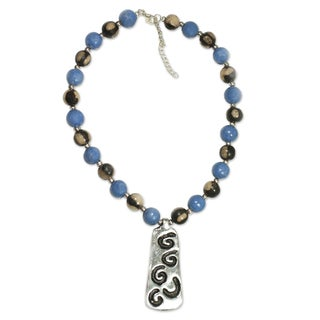 Handmade Ceramic 'Azacualpa Blue' Beaded Necklace (Honduras)