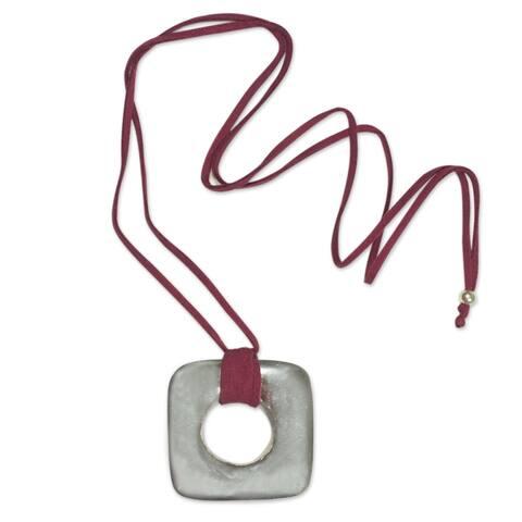Handmade Leather Pewter 'Ancient Art' Pendant Necklace (Honduras)