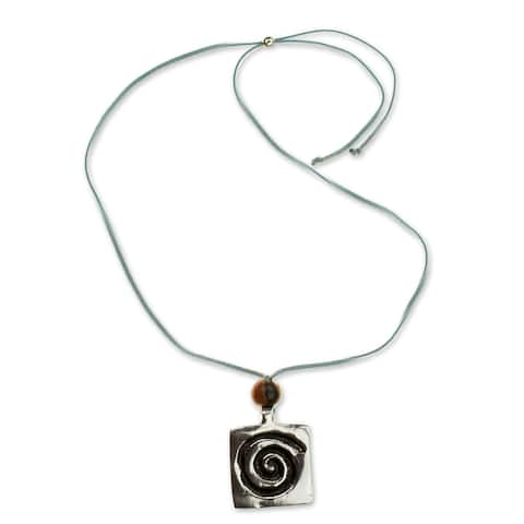 Leather Pewter 'Celestial Life' Pendant Necklace (Honduras)