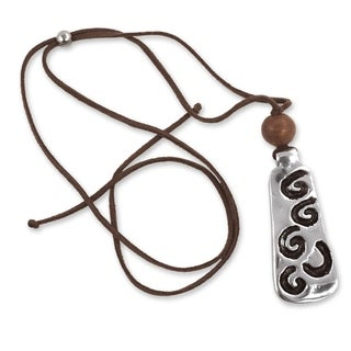 Handcrafted Leather Pewter 'Ax Of Life' Pendant Necklace (Honduras)