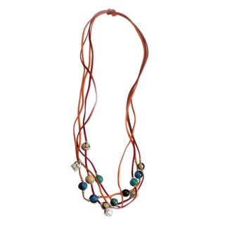 Handmade Leather Ceramic 'Nahual Destiny' Pendant Necklace (Honduras)