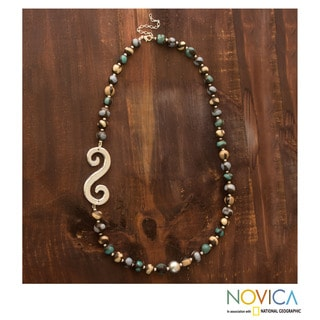 Handcrafted Ceramic 'Azacualpa Water' Beaded Necklace (Honduras)