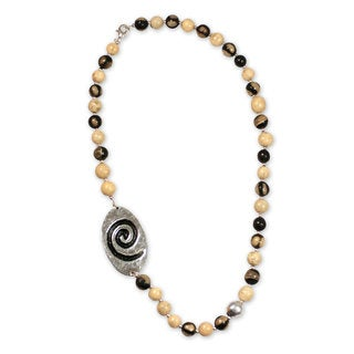 Handcrafted Ceramic 'Azacualpa Ivory' Beaded Necklace (Honduras)