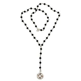Handmade Sterling Silver 'Good Fortune' Onyx Y Necklace (Indonesia)