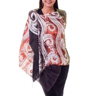 Handcrafted Silk 'Ocean Sunset' Batik Shawl (Thailand)