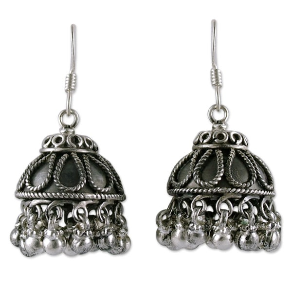 Handmade Sterling Silver X27 Bells Chandelier Earrings India