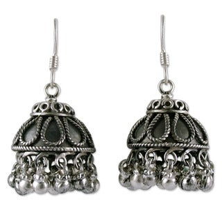 Handmade Sterling Silver 'Silver Bells' Chandelier Earrings (India)