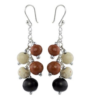 Handcrafted Ceramic 'Sun Of Azacualpa' Beaded Earrings (Honduras)