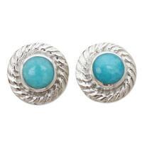 Handmade Sterling Silver 'Heavenly Halo' Amazonite Stud Earrings (Peru)