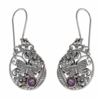 Sterling Silver 'Paradise' Amethyst Flower Earrings (Indonesia)