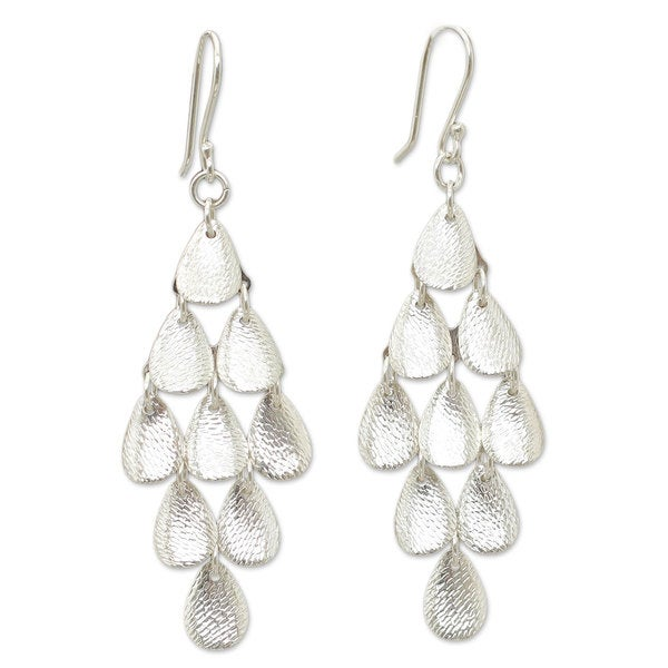Handmade Sterling Silver 'Rain' Chandelier Earrings (Peru)