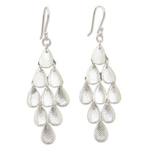 Handmade Sterling Silver 'Rain' Chandelier Earrings (Peru)