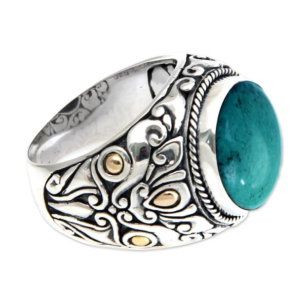 Handmade Taru Tree Men's Sterling Silver Gold Blue Green Turquoise Ring (Indonesia)