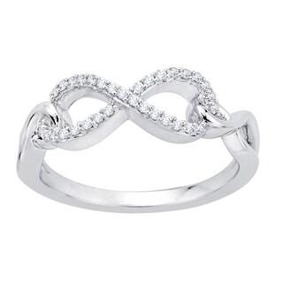 10k White Gold 1/8ct TDW Diamond Infinity Ring (J-K, I1-I2)