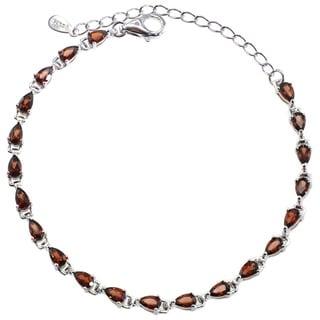De Buman Sterling Silver Natural Garnet, Peridot, Amethyst, Sky blue topaz or Multi-colored Gemstones Bracelet