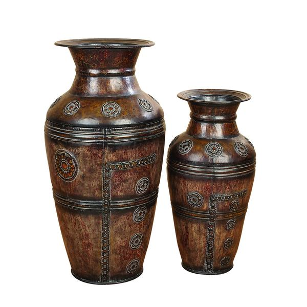 Shop The Curated Nomad Merced Metal Carved Vases Set Of 2 On