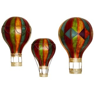 MULTI COLOR METAL WALL DECOR S/3 BEAUTIFULLY SCULPTURED