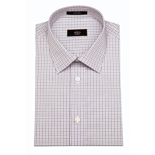 Alara Men's Grey and Grape Tattersall Slim Fit Egyptian Cotton Shirt