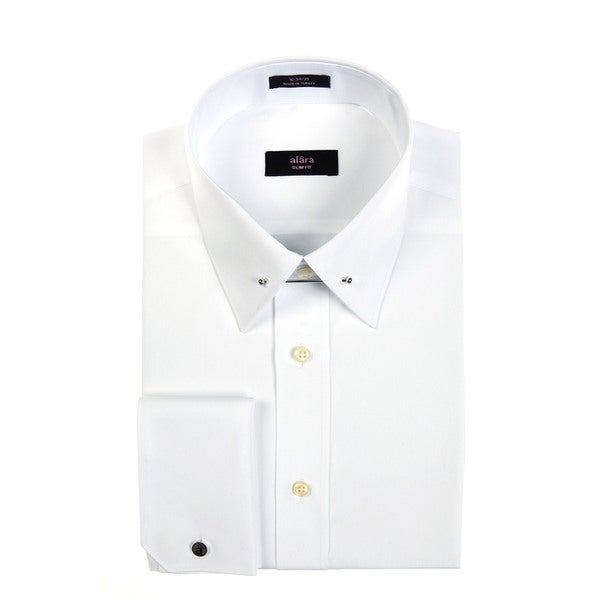 Alara men 39 s white egyptian cotton formal dress shirt with for Mens egyptian cotton dress shirts